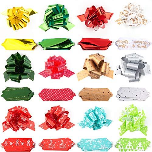 SAVITA 24 Stück Geschenk Pull Bow 5 Zoll breites Geschenkverpackungsband Zubehör für Geschenk, Schleifen, Weinflaschen, Körbe, Partydekorationen (12 Muster)
