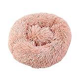 Nido para mascotas para perros y gatos, cama de relax redonda, cálida y suave, cómoda colchoneta portátil para dormir en invierno y otoño (rosa S)