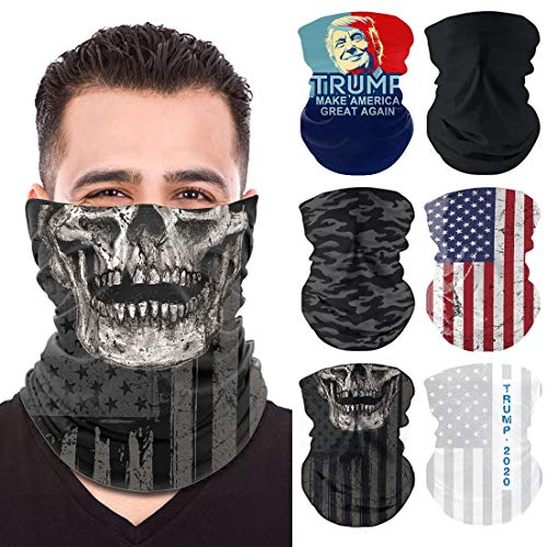Neck Gaiter 6 Pack, Trump Face Mask, Balaclava, Face Scarf for Men and Women