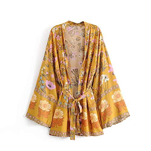 Boho Vintage Tops de Verano Estampado Floral con Lavados Kimono Mujer Moda Cardigan Cuello en V Playa Elegante Blusas Camisas Blusas