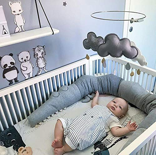 Crib Bumper | Soft Breathable Cotton Crib Liner for Nursery Bed | Cradle Cushion and Stuffed Animal Toy by Ash & Co (Grey)