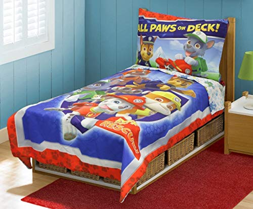 Paw Patrol 4pc TODDLER BEDDING SET, New, Blue, Fits Crib/toddler mattress