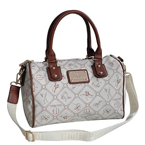 Giulia Pieralli Damen Glamour Handtasche Damentasche Tasche Henkeltasche Bowling Tasche-präsentiert von ZMOKA® in versch. Farben (Beige Braun)