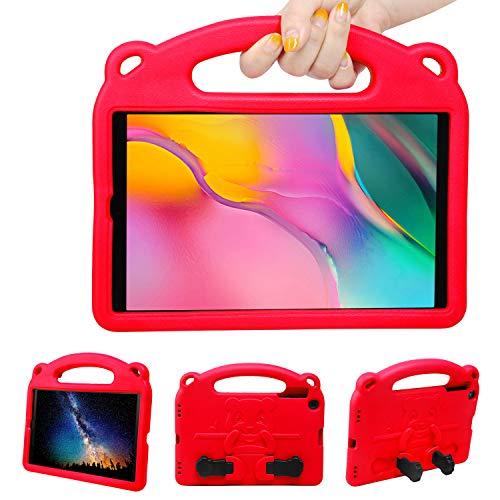 NEWSTYLE Funda Anticaída para Samsung Galaxy Tab A 10.1' 2019 (SM-T510/SM-T515),Carcasa Rugosa con Soporte Asa de Mano para Niños Funda para Galaxy Tab A Tablet 10.1' 2019 (Rojo)