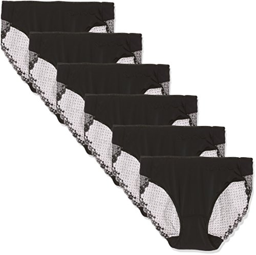 Pierre Cardin 4401, Bragas Para Mujer, Negro, L, Pack de 6