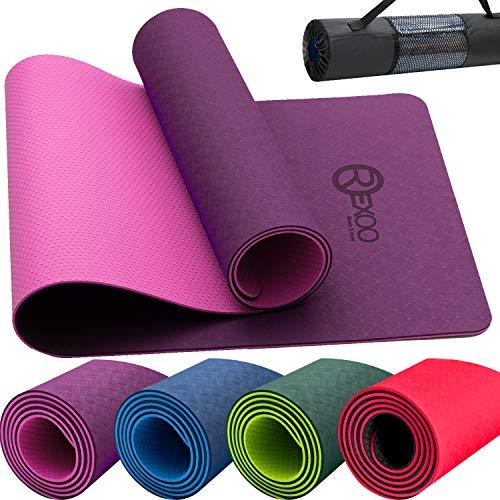 REXOO Yogamatte TPE Fitnessmatte Gymnastikmatte Pilates Sportmatte Bodenmatte Matte 183 x 61 x 0,6 cm, Pink