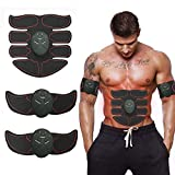 BTkviseQat ABS Trainer Muscle Stimulator,Muscle Stimulator,Home Gym Belt,Abs Stimulator Workout Equipment For Men & Women,Electronic Toning Belts Workout Home Fitness Device with USB Rechargeable