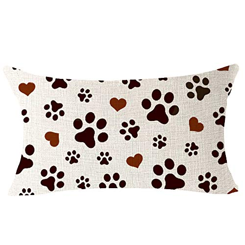 "Paw Print Love Pattern Best Gift for Pet Dog Cute Animal Lumbar Cotton Linen Throw Waist Pillow Case Decorative Cushion Cover Pillowcase for Sofa Coach Bedroom 12""x 20"" inch"