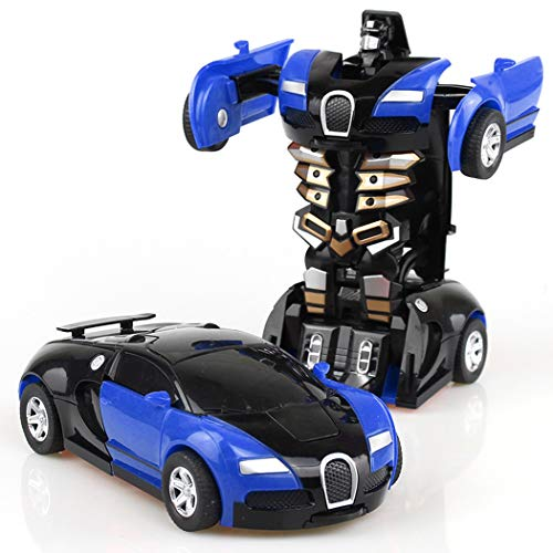 HOTLISTA Transform Car Robot, Electronic Remote Control RC Vehicles with One Button Tranforming and Realistic Engine Sound