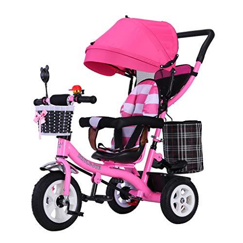 WENJIE De Cochecito De Bebé De Bicicletas Niños Portátiles Triciclo De Niños del Asiento Giratorio Valla con Seguridad 1-2-3-6 Juguete Antiguo Años Coche 5 Opciones De Color (Color : Pink)