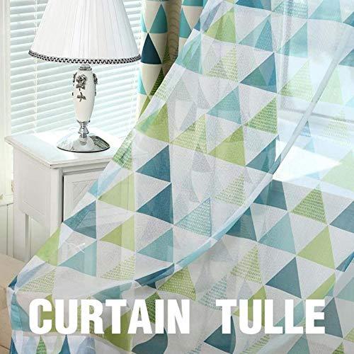Moderne geometrische raambekleding Gordijnen voor woonkamer voor slaapkamer Verduisteringsgordijnen Keuken Kinderkamer, Gordijn Tule Groen, B350 x H 270cm