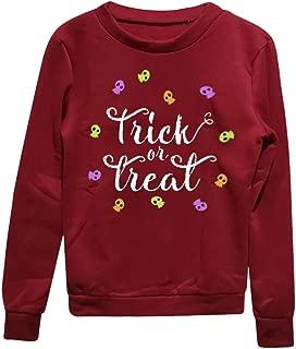 Halloween Sweatshirt for Women Makulas Teen Girls Oversized Long Sleeve Printed Hooded Blouse Loose Casual Pullover Tops