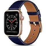 CeMiKa Compatible con Apple Watch Correa 38mm 40mm 42mm 44mm, Correas de Cuero Genuino Compatible con iWatch Correa SE/Series 6 5 4 3 2 1, 38mm/40mm, Azul/Oro Rosa