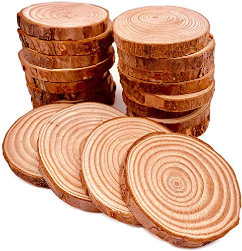 William Craft Unfinished Natural Wood Slices 20 Pcs 2.75-3.1 inch Wood Coaster Pieces Craft Wood kit Circles Crafts Christmas Ornaments DIY Crafts with Bark for Crafts Rustic Wedding Decorationbirch