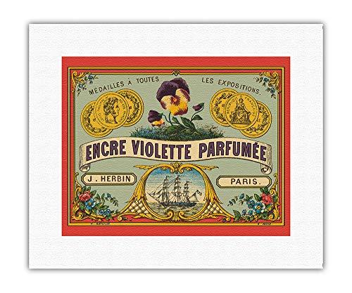 Encre Violette Parfumée - Société Herbin, Maître Cirier, Paris - Affiche Publicitaire de H. Bataille c.1862 - Impression d'Art sur Toile (roulée) 28 x 36 cm