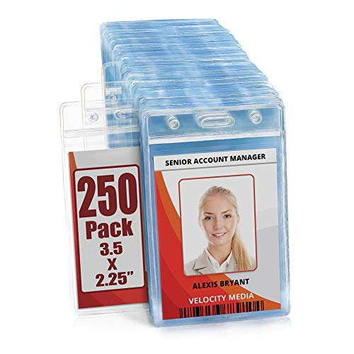 MIFFLIN Plastic Waterproof ID Badge Holders (Clear, 3.5x2.25 Inch, 250 Pack), Vertical Hanging Name Card Holder with Zipper, Resealable Bulk Nametag Holders