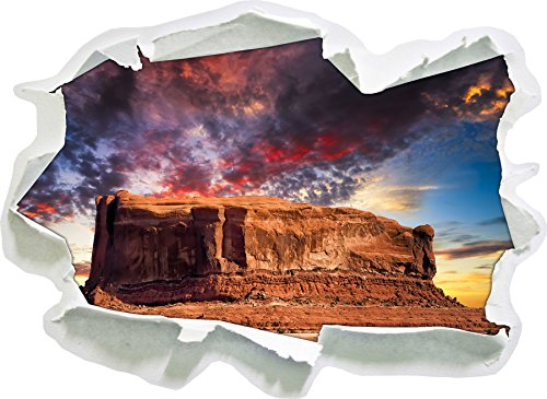 Puissant Monument Valley USA, Papier 3D Taille Sticker Mural: 92x67 cm décoration Murale 3D Stickers muraux Stickers