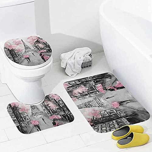 My Little Nest Juego de 3 alfombras de baño y alfombrillas de baño de Paris Romantic Street lavables antideslizantes en forma de U y cubierta para tapa para baño