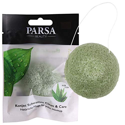 PARSA BEAUTY Konjac Gesichtsschwamm Clean & Care Sanftes Peeling und Pflege durch Aloe Vera Biologisch Abbaubar, 100% Natürlich und Vegan