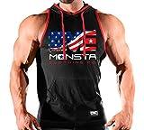Monsta Clothing Co. Men's Workout (U.S.A) Hooded Gym Tank Top (G:BK/RD-A:USA)