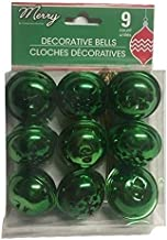 (Pack of 2) 9 Large Christmas House Aged Finish Snowflake Cutout Jingle Bells (Green)
