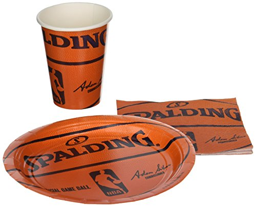 Spalding Basketball–Party Supplies Pack inkl. Teller, Tassen, und napkins- 18Gäste