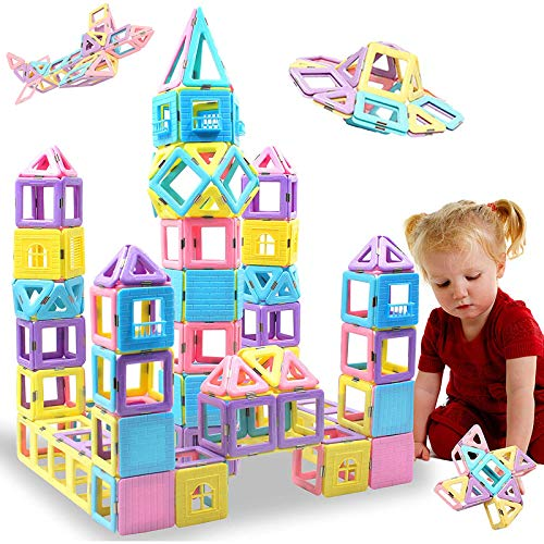 HLAOLA Magnetic Blocks 102PCS Upgrade Magnetic Building Blocks for Kids Magnetic Tiles 3D Magnetic Toys Educational STEM Toys Tiles Set Castle Toys for 2 3 4 5 6 7 Year Old Boys Girls Gifts