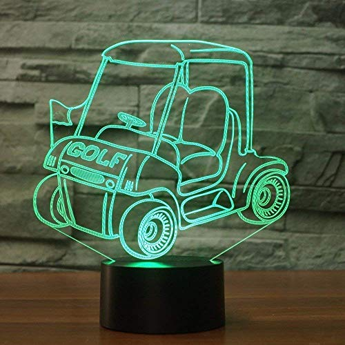 3D Golf Cart Night Light USB Touch Switch Decor Table Desk Optical Illusion Lamps 7 Color Changing Lights LED Table Lamp Xmas Home LoveBirthdayChildren Kids Decor Toy Gift