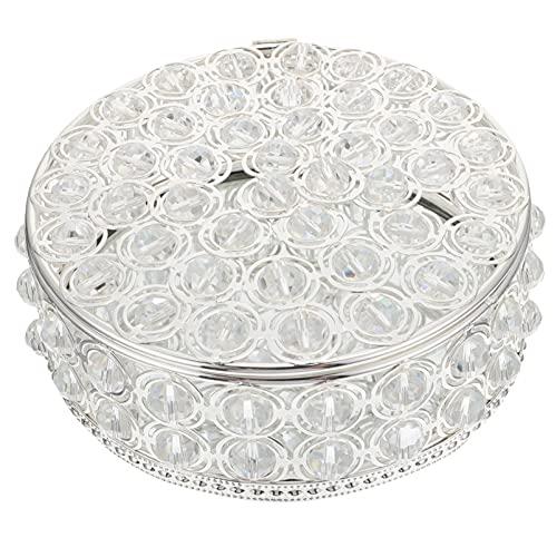 BESPORTBLE Joyero con Espejo de Cristal Organizador de Baratijas Redondas Cofre Pendientes...