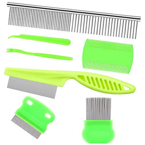 Lamoutor 7Pcs Pet Flea Comb Fine Tooth Comb and Pet Stainless Steel Combs for Dogs Cats Pet