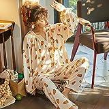 GenericBrands Pijamas PJ Set Otoño Algodón Conjunto de Pijamas de Dibujos Animados Mujeres Ropa de Dormir Suelta Manga Larga Top & Bottoms Ropa de Dormir-M_40-50Kg