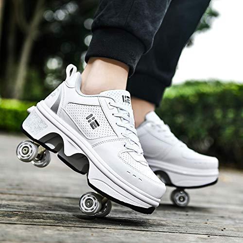 JTKDL Deformation Roller Shoes Scarpe da Skate per Donna Uomo, Ragazzi Bambini Scarpe con Ruote Roller Sneakers Scarpe, per Regalo per Principianti Unisex,Silver-EU37/UK4