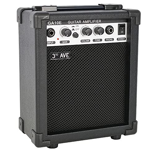 3rd Avenue Amplificador para guitarra eléctrica compacto de 10 W con distorsión, salida para auriculares y controles de ganancias y tono