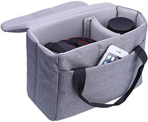 BOMKEE Camera Protective Bag Padded Insert Water Resistant DSLR SLR Case Foldable Liner for Sony,Canon,Nikon,Olympus Camera Lens Accessories Grey
