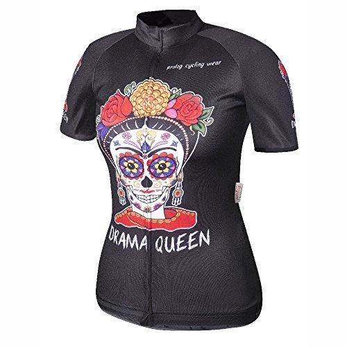 prolog cycling wear Radtrikot Damen Kurzarm, atmungsaktiv, elastisch, schnelltrocknend, auch Lauftrikot, schwarz-bunt, Größen XS, S, M, L, XL, XXL