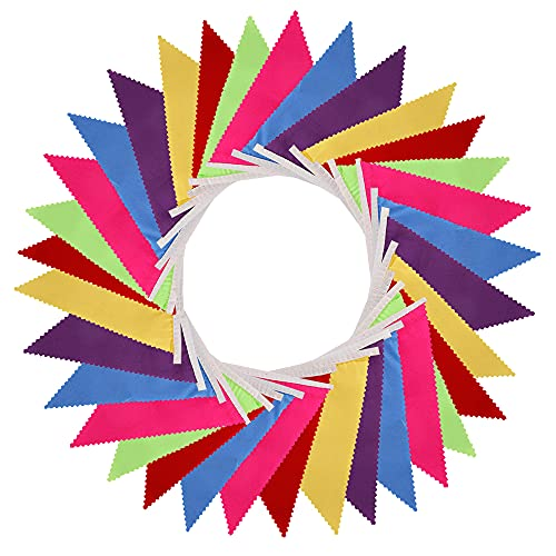 Multicolor Fabric Bunting Banner, 32.8ft 36Flags Double Sided Colorful Bunting Garland Decoration for Birthday Wedding Baby Shower Hen Do Home Outdoor Party