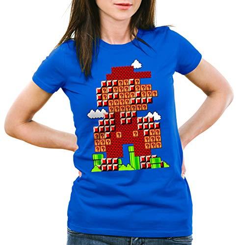 style3 Bros Level Camiseta para Mujer T-Shirt plomero 8bit japón Mario, Talla:XL