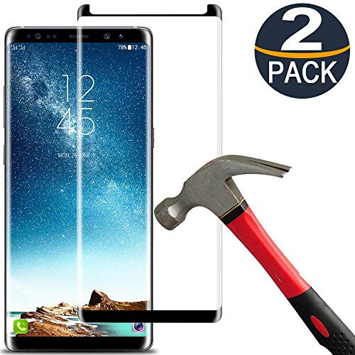 [2-Pack] Keklle Galaxy Note 8 Screen Protector, Case Friendly,Anti-Bubble,Anti-Scratch,9H Hardness 3D Curved Tempered Glass Film Comfortable for Samsung Note 8