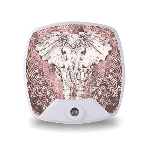 Lámpara de noche LED con sensor inteligente de atardecer a amanecer, elefante bohemio, mandala rubor luna, luz blanca cálida para niños y escaleras, pasillo, cocina, dormitorio