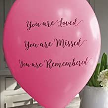 ANGEL & DOVE 25 Bright Pink 'You are Loved, Missed, Remembered' Biodegradable Funeral Remembrance Balloons - for Memory Table, Memorial, Condolence, Celebration of Life