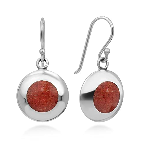 925 Sterling Silver Natural Red Sea Bamboo Coral Circle Inlay Round Dangle  Hook Earrings 1
