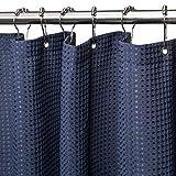 VANZAVANZU - Cortina de ducha con ganchos de metal, resistente tela con tejido de galleta, calidad hotelera, impermeable para baño y bañera, 182 x 182 cm, color azul marino