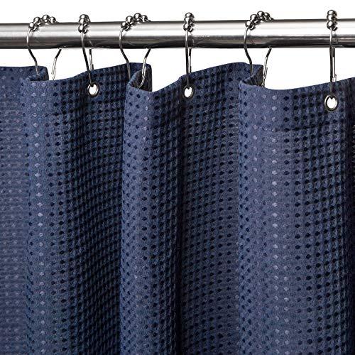Waffel Duschvorhang mit Metall Duschvorhangringe Stoff Textil Badewannenvorhang Anti Schimmel Bad Vorhang Wasserdicht Badewanne Vorhang Schwerer Shower Curtain Badezimmer - 92 x 182cm (Marineblau)