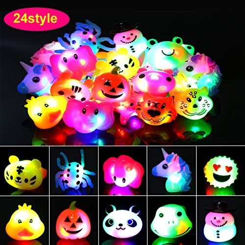 HOWAF Flashing Led Light up Ring Grow in The Dark Jelly Rings Bulk for Boys Girls Gift Novelty Birthday Party Favors Kids Party Bag Filler Class Prizes (24pcs)