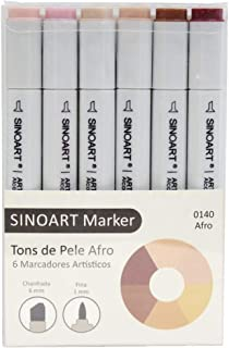 Marcador Artístico Sinoart Marker, Sinoart, 6 Tons Pele Afro