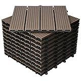ECD Germany WPC Terrassenfliesen 30x30 cm 22er Spar Set für 2m² Dunkelbraun in Holzoptik für Garten Balkon Bodenbelag mit Drainage, Klicksystem Terrassendielen Balkonfliesen Klickfliesen Holzfliesen