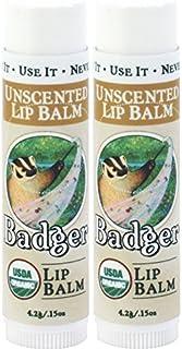 Badger Unscented Classic Lip Balm - 0.15oz Stick (2 Pack)