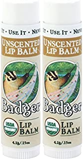 Badger Unscented Classic Lip Balm - 2 Pack