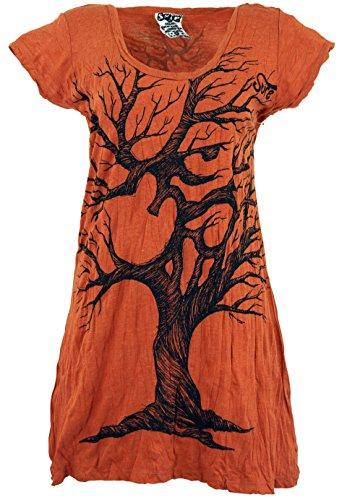 Guru-Shop Sure Long Shirt, Minikleid OM Tree, Damen, Rostorange, Baumwolle, Size:L (40), Bedrucktes Shirt Alternative Bekleidung