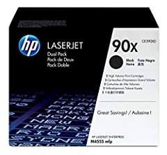 Print technology: Laser; Cartridge yield (approx) per cartridge: 24,000 pages Approximate average page yield based on ISO/IEC 19752 HP Printer compatibility: HP LaserJet Enterprise 600, M4555 Box includes: HP 90X (CE390XD) 2 toner cartridges & Recycl...